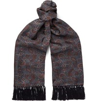 Sulka Fringed Paisley Print Mulberry Silk Twill Scarf Brown