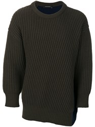 Cedric Charlier Colour Block Sweater Cashmere Virgin Wool Green