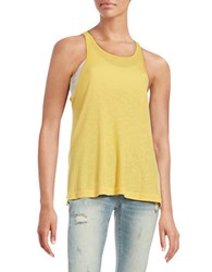 Free People Long Beach Ribbed Tank Top Buttercup Yellow