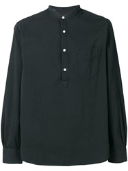 Officine Generale Pull Over Fitted Shirt Black