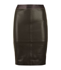 Reiss Tami Leather Pencil Skirt Female Black