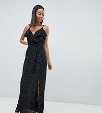 Missguided Tall Polka Dot Maxi Dress Black