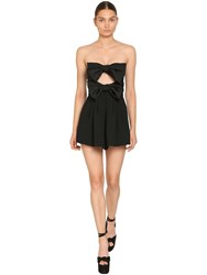 Saint Laurent Wool Blend Moire Faille Romper W Bows Black