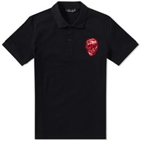 Alexander Mcqueen Embroidered Skull Polo Black