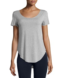 Dex Scoop Neck Shirttail Hem Tee Light Gray