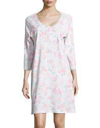Miss Elaine Rose Print Night Gown Grey