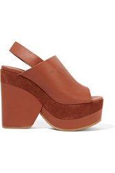 See By Chloe Suede Trimmed Leather Platform Sandals Brown
