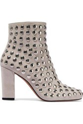 Iro Woman Bootroky Studded Suede Ankle Boots Light Gray