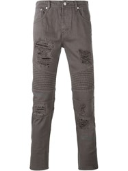 Stampd Distressed Biker Jeans Grey