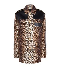 Givenchy Leopard Print Leather Trim Jacket Female Brown