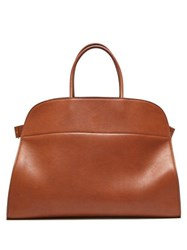 The Row Margaux 17 Large Leather Tote Bag Brown