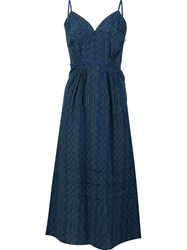 Derek Lam Sweetheart Neck Flared Dress Blue