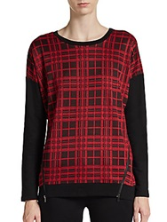 Romeo And Juliet Couture Plaid Side Zip Pullover Red Black