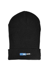Undercover Patch Wool Blend Knit Beanie Hat Black