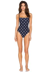 Kate Spade Mini Bow Strappy Swimsuit Navy