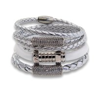 Liza Schwartz Jewelry Edge Silver Leather Bracelet Stack