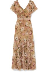 Alice Olivia Cassidy Ruffled Silk Georgette Maxi Dress Beige