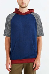 Bdg Colorblock Short Sleeve Pullover Hooded Sweatshirt Blue
