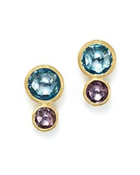 Marco Bicego 18K Yellow Gold Jaipur Two Stone Earrings With Blue Topaz And Amethyst Blue Purple