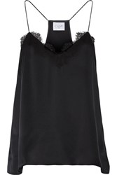 Cami Nyc Lace Trimmed Silk Charmeuse Camisole Black