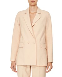 Carven Double Breasted Oversized Crepe Jacket Beige