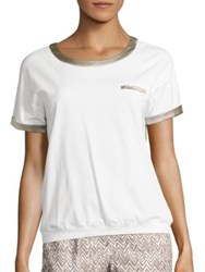 Peserico Charmeuse Trimmed T Shirt White Taupe