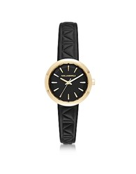 Karl Lagerfeld Belleville Gold Tone Pvd Stainless Steel Women's Quartz Watch W Black Leather Strap