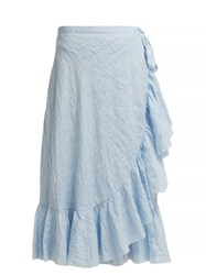 Loup Charmant Ruffled Cotton Wrap Skirt Blue Stripe