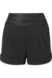 Saint Laurent Satin Trimmed Wool Grain De Poudre Shorts Black