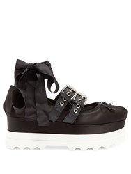 Miu Miu Satin Wedge Ballet Punps Black