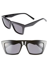 Kendall Kylie Kamilla 53Mm Square Sunglasses Black Solid Smoke Black Solid Smoke