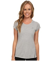 New Balance Heathered Short Sleeve Top Athletic Grey Women's Short Sleeve Pullover Gray