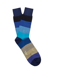 Paul Smith Wide Striped Cotton Blend Socks Navy Multi