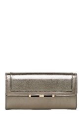 Diane Von Furstenberg Flap Metallic Croc Embossed Leather Wallet