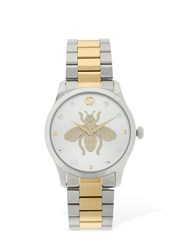 Gucci G Timeless Bicolor Embroidered Bee Watch Silver
