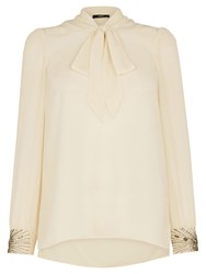 Oasis Embellished Pussybow Blouse Natural