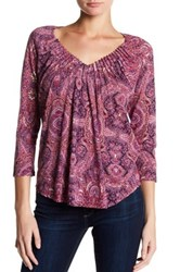 Lucky Brand Pleated V Neck Blouse Red