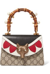 Gucci Linea E Bamboo Embellished Leather And Coated Canvas Tote Beige