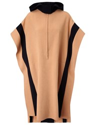 Cedric Charlier Camel Wool Long Hooded Poncho Multi