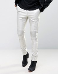 Asos Extreme Super Skinny Trousers With Biker Details In Silver Silver