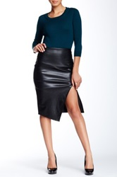 Romeo And Juliet Couture Faux Leather Asymmetrical Pencil Skirt Black