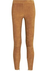 Vince Stretch Suede Leggings Tan