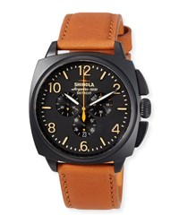 Shinola 46Mm Men's Brakeman Chronograph Watch With Leather Strap Black
