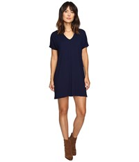 Lilla P Stretch Jersey Short Sleeve V Neck Dress Navy Women's Dress