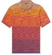 Missoni Space Dyed Knitted Cotton Polo Shirt Orange