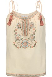 Chelsea Flower Embroidered Cotton Voile Top Beige