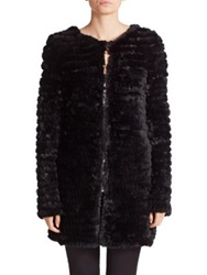 Adrienne Landau Knit Rabbit Fur Coat Black