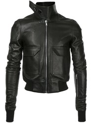 Rick Owens Oblong Collar Bomber Jacket Men Cotton Calf Leather 46 Black