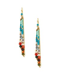Nakamol Beaded Tassel Fringe Earrings Multi