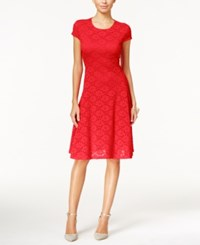 Alfani Petite Lace Fit And Flare Dress Only At Macy's Tropical Punch